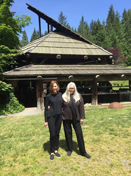 Jan Greenberg and Sandra Jordan at Pilchuck, the glassblowing school started by Dale Chihuly